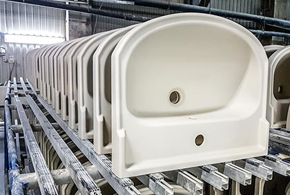 Casting of wash basins