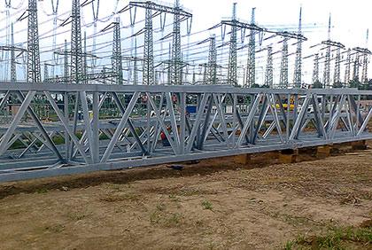 Ocelové konstrukce pro rozvodnu VVN - nosníky, břevna, stožáry