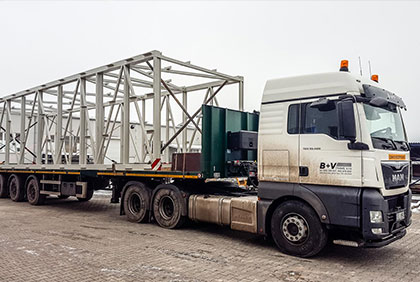Lorry with construction